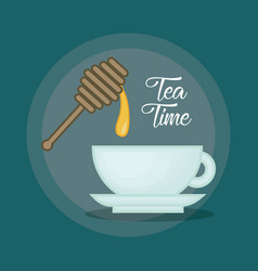 Hot cup of tea sweeten with honey design vector
