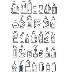 Household chemicals icons vector