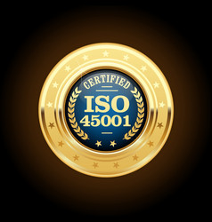 iso 45001 standard medal - occupational health and vector image