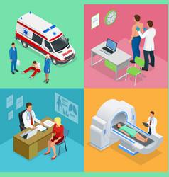 Isometric paramedics ambulance team with ambulance vector