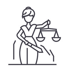 justice statue line icon sign vector image