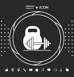 kettlebell and barbell icon graphic elements for vector image