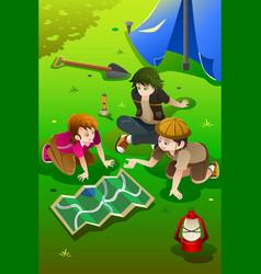 kids having summer camp vector image