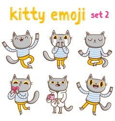 Kitty emoji set 2 vector