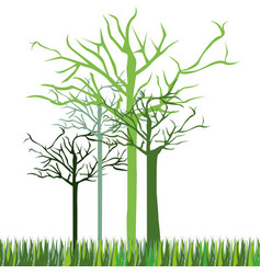 leafless green trees icon vector image