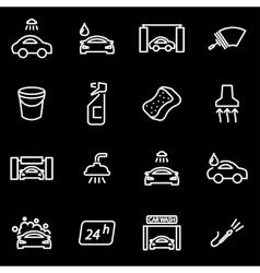 line car wash icon set vector image