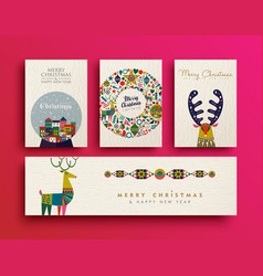 Merry christmas folk art holiday card collection vector