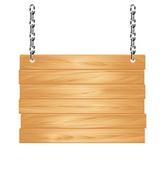Object wooden sign on chains vector