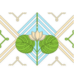 Ornament of the lotus seamless floral pattern vector