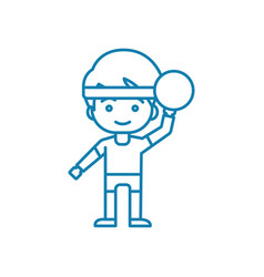 Playing handball linear icon concept playing vector