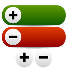 Plus and minus buttons long and circular versions vector