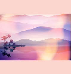 purple summer background with sea and palm trees vector image