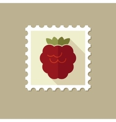 Raspberry flat stamp with long shadow vector image