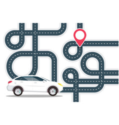 road map with white car on start and red pin the vector image