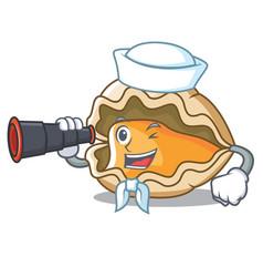 sailor with binocular oyster mascot cartoon style vector image