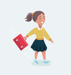 schoolgir goes to school and lessons in school vector image