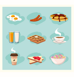 Set delicious breakfast nutrition food vector