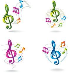 Set of color music icons vector image