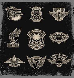 Set of emblems for biker club car repair for vector
