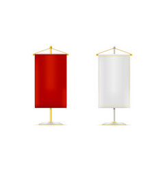set realistic white and red pennons hanging on vector image
