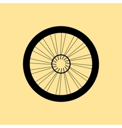 silhouette of a bicycle wheel with tyre and vector image