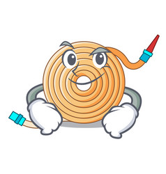 Smirking garden water hose cartoon vector