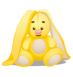 Soft toy in the form of yellow rabbit isolated on vector