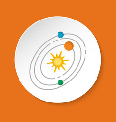 Solar system icon in flat style on round button vector