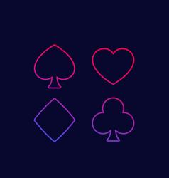 Spade heart diamond and club line icons vector