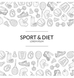 sport and diet banner template healthy lifestyle vector image