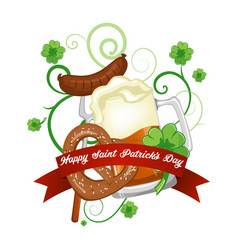 st patrick s day beer clover and banner vector image