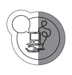Sticker circular silhouette with tech portable vector
