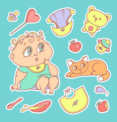 stickers of the surprised child and the kitten vector image