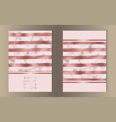 Stripe pink foil marble cover set vector
