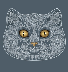 Tattoo head of gray cat with floral ornaments vector