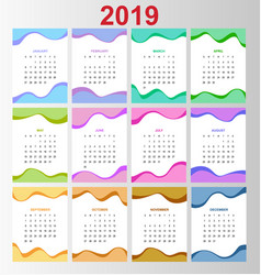 template calendar 2019 week starts on sunday set vector image