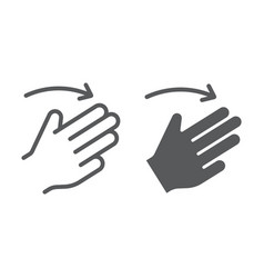 three fingers flick right line and glyph icon vector image
