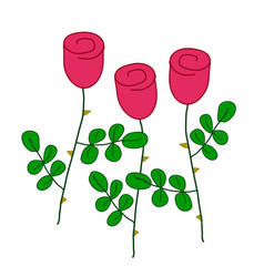 three stylized red roses with green leaves simple vector image