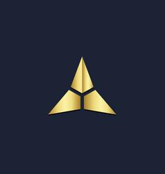 Triangle star gold logo vector