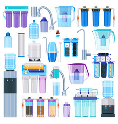 water filtration realistic icons set vector image