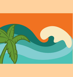 Waves in afternoon vector