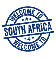 welcome to south africa blue stamp vector image