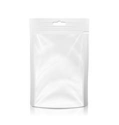 White blank plastic pocket bag realistic vector