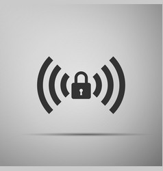 wifi locked sign icon isolated on grey background vector image