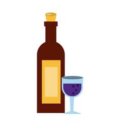 Wine bottle with glass icon image vector