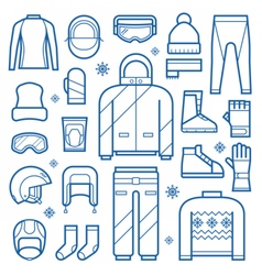 winter clothes and accessries icons vector image