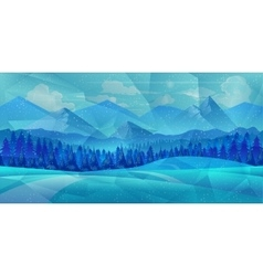 Winter low poly background with road and polygonal vector image