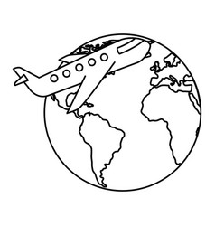 world planet earth with airplane vector image