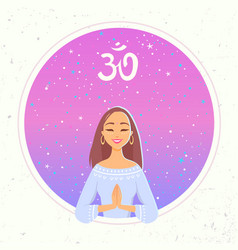 Yoga girl namaste vector