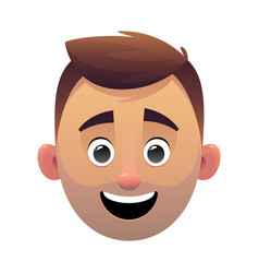 young man head avatar cartoon face character vector image